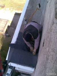 Покрытие крыши балкона рубероидом
